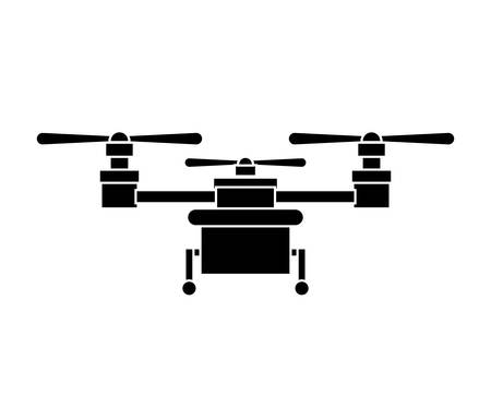 airscrew: silhouette drone with three airscrew and train of landing vector illustration
