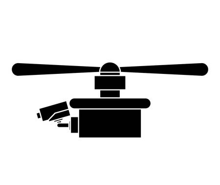 airscrew: silhouette drone with one airscrew vector illustration Illustration