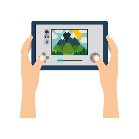computerized: touch screen for drone camera with hands vector illustration