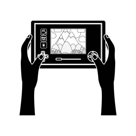 computerized: silhouette touch screen for drone camera with hands vector illustration