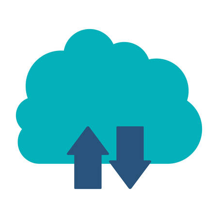 blue cloud with arrows in opposite direction vector illustration Illustration