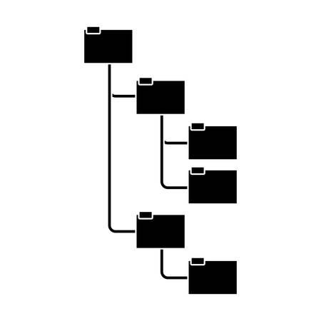 jerarquia: silueta carpetas organizadas en la ilustración vectorial jerarquía