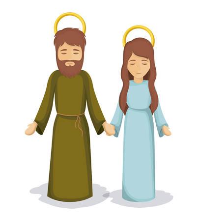 sacra famiglia: Maria e Giuseppe icona. sacra famiglia e Merry tema natale stagione. design colorato. illustrazione di vettore