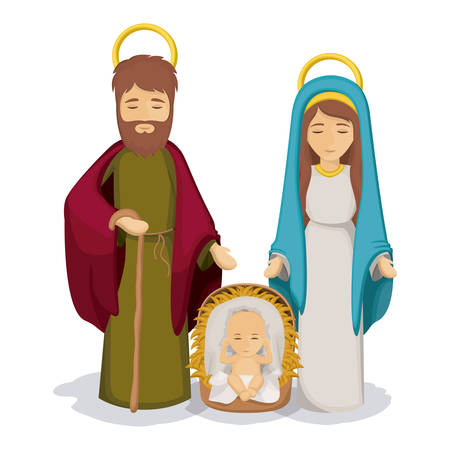 sacra famiglia: Mary and joseph with baby jesus icon. Holy family and merry christmas season theme. Colorful design. Vector illustration