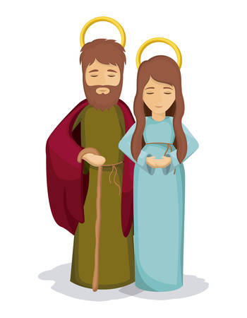 holy family: Mary and joseph icon. Holy family and merry christmas season theme. Colorful design. Vector illustration
