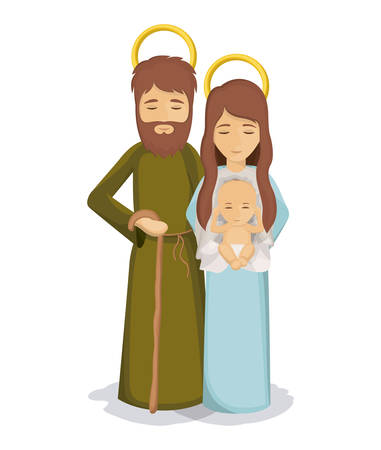 holy family: Mary and joseph with baby jesus icon. Holy family and merry christmas season theme. Colorful design. Vector illustration