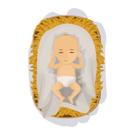 holy family: Baby jesus cartoon icon. Holy family and merry christmas season theme. Colorful design. Vector illustration Illustration