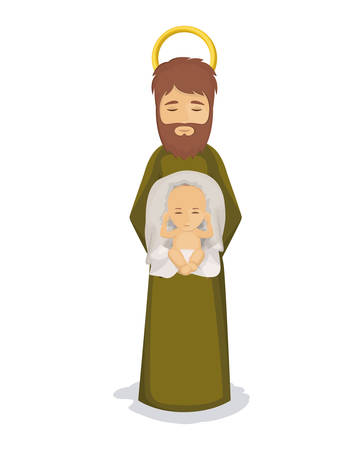 holy family: Baby jesus and joseph icon. Holy family and merry christmas season theme. Colorful design. Vector illustration