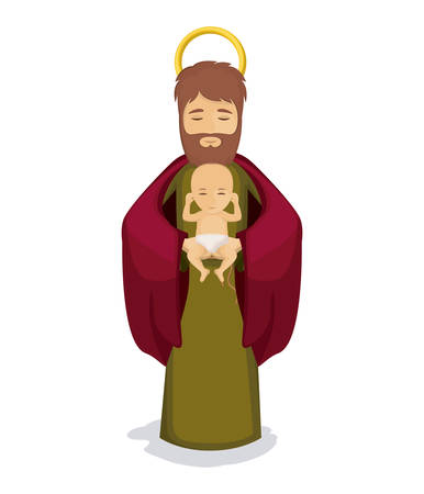 Baby jesus and joseph icon. Holy family and merry christmas season theme. Colorful design. Vector illustration
