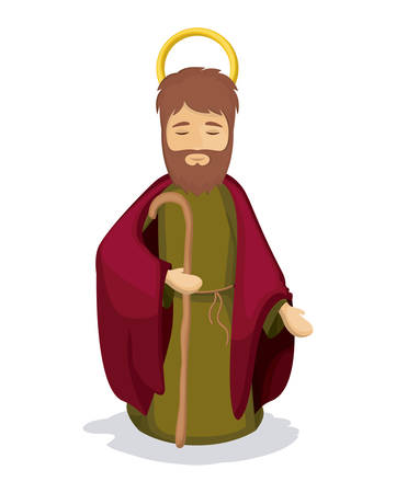 Joseph cartoon icon. Holy family and merry christmas season theme. Colorful design. Vector illustration Illustration