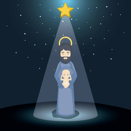 holy family: Joseph and baby jesus cartoon icon. Holy family and merry christmas season theme. Colorful design. Vector illustration
