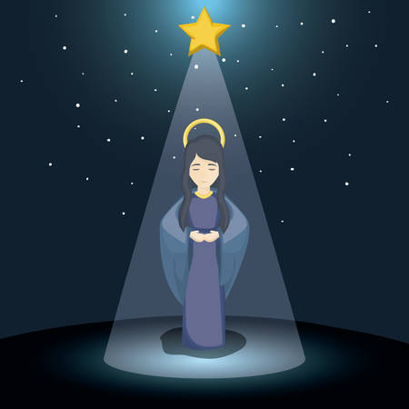 holy family: Holy mary cartoon icon. Holy family and merry christmas season theme. Colorful design. Vector illustration