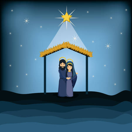 holy family: Jesus god and mary cartoon icon. Holy family and merry christmas season theme. Colorful design. Vector illustration