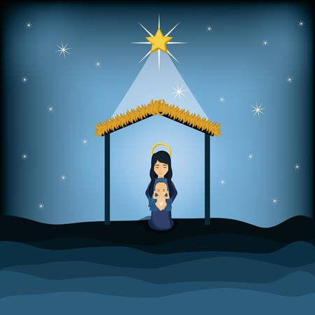 conception: Mary and baby jesus cartoon icon. Holy family and merry christmas season theme. Colorful design. Vector illustration