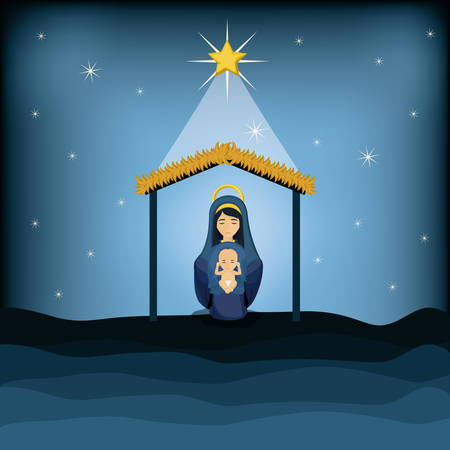 nativety: Mary and baby jesus cartoon icon. Holy family and merry christmas season theme. Colorful design. Vector illustration