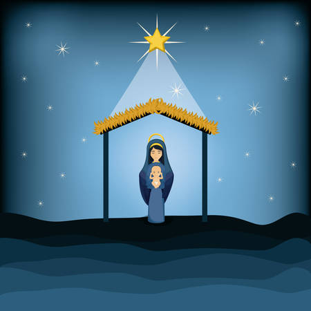 sacra famiglia: Mary and baby jesus cartoon icon. Holy family and merry christmas season theme. Colorful design. Vector illustration