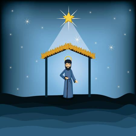 nativety: Joseph cartoon icon. Holy family and merry christmas season theme. Colorful design. Vector illustration Illustration