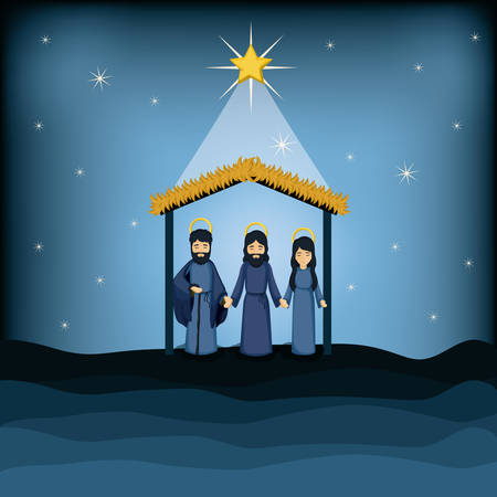 holy family: Jesus god joseph and mary cartoon icon. Holy family and merry christmas season theme. Colorful design. Vector illustration