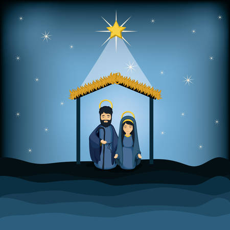 holy family: Mary and joseph cartoon icon. Holy family and merry christmas season theme. Colorful design. Vector illustration