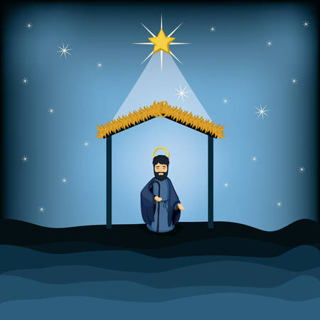 holy family: Joseph cartoon icon. Holy family and merry christmas season theme. Colorful design. Vector illustration Illustration