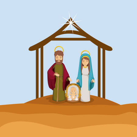 holy family: Joseph mary and baby jesus cartoon icon. Holy family and merry christmas season theme. Colorful design. Vector illustration