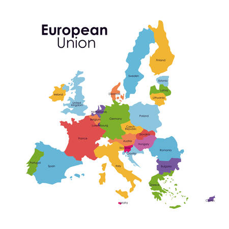 european culture: European union map icon. Europe nation and government theme. Colorful design. Vector illustration Illustration