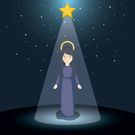 conception: Mary cartoon icon. Holy family and merry christmas season theme. Colorful design. Vector illustration