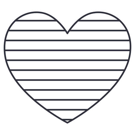 Striped heart icon. Love passion and romantic theme. Isolated design. Vector illustration