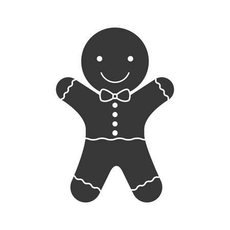 galleta de jengibre: feliz galletas de jengibre icono de la silueta de la Navidad. ilustración vectorial Vectores