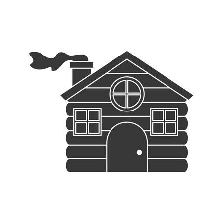 log cabin: log cabin house shape icon silhouette vector illustration. vector illustration Illustration