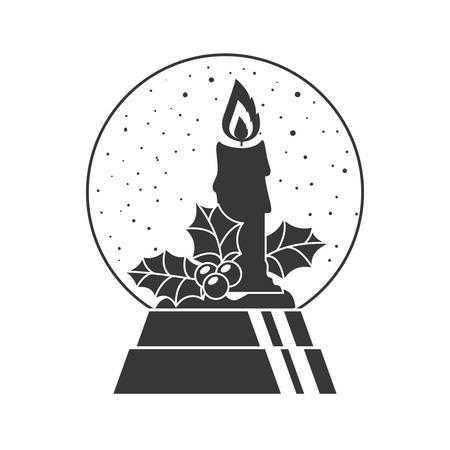 christmas crystal globe decoration with candle and holy berry inside silhouette. vector illustration