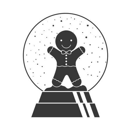 galleta de jengibre: decoración de globo de cristal de Navidad con galletas de jengibre en el interior de la silueta. ilustración vectorial