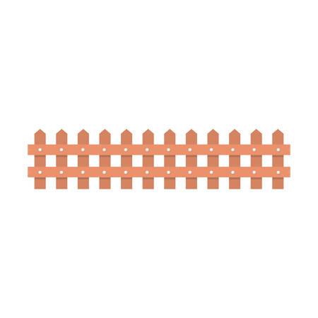 bucolic: wooden fence icon over white background. vector illustration Illustration