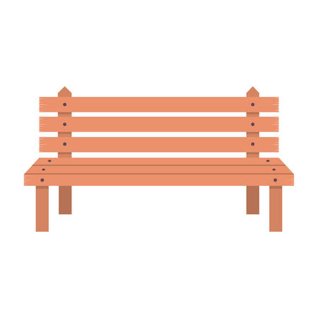 wooden chair: bench wooden chair comfortable park seat decoration vector illustration