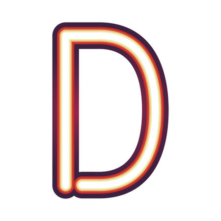 Glowing neon colorful letter D over white background. vector illustration Illustration