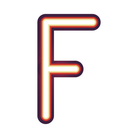 Glowing neon colorful letter F over white background. vector illustration Illustration