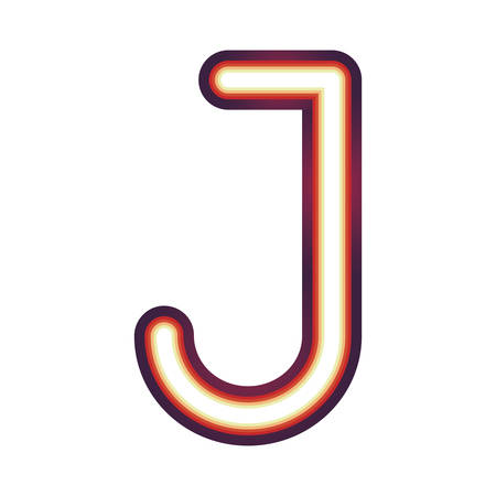 Glowing neon colorful letter J over white background. vector illustration