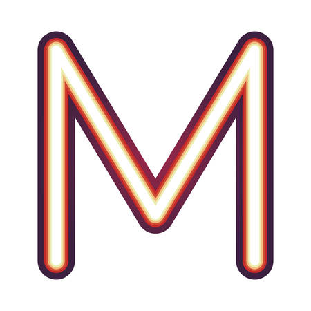 Glowing neon colorful letter M over white background. vector illustration