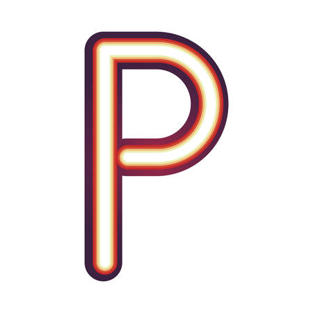 Glowing neon colorful letter P over white background. vector illustration