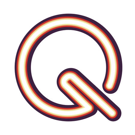 Glowing neon colorful letter Q over white background. vector illustration