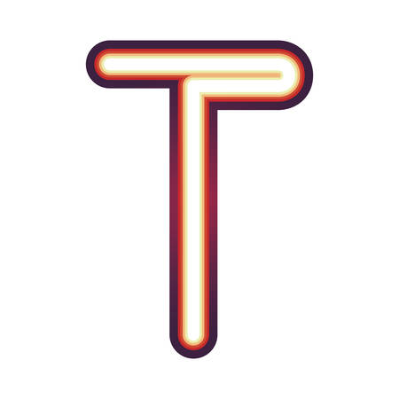 Glowing neon colorful letter T over white background. vector illustration