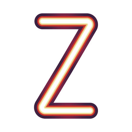 Glowing neon colorful letter Z over white background. vector illustration