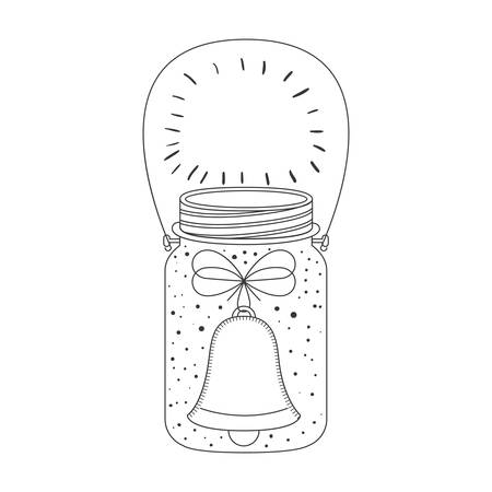 weckglas mit Innen Glocke Dekoration. Skizzieren und Zeichnen Design. Vektor-Illustration