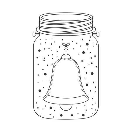 weckglas mit Innen Glocke Dekoration. Skizzieren und Zeichnen Design. Vektor-Illustration Vektorgrafik