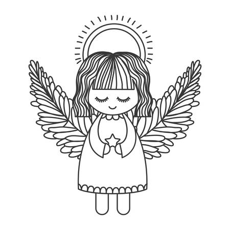 angelic: cute angel with wings and halo and holding star silhouette. Vector illustration Illustration