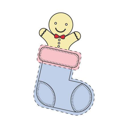 galleta de jengibre: feliz galletas de jengibre en el interior del calcetín decoración de Navidad. dibujar y dibujar el diseño. ilustración vectorial
