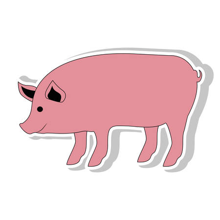 Pig icon. Animal farm and nature theme. Isolated design. Vector illustration Illustration