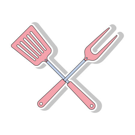 turner: turner and fork crossed bbq cooking utensils icon. Steak house food and restaurant theme. Isolated design. Vector illustration