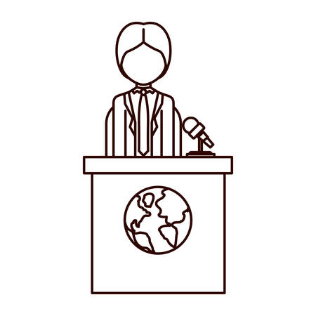 tribune: avatar man on tribune for speech with earth planet icon. vector illustration