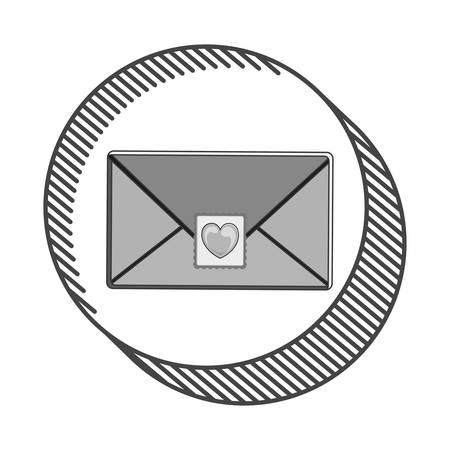 envelope letter with post stamp hearth shape. vector illustration